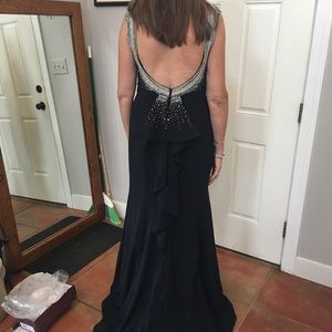Mother of the Bride dress -navy blue with beading